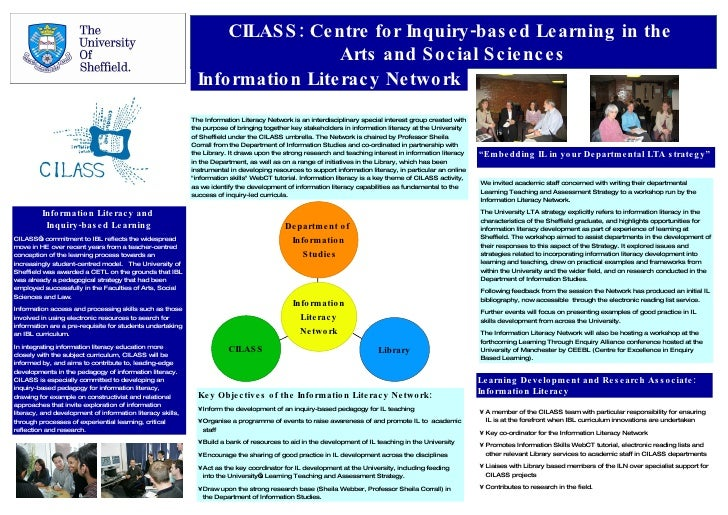 CILASS: Centre for Inquiry-based Learning in the  Arts and Social Sciences Information Literacy Network Information Litera...