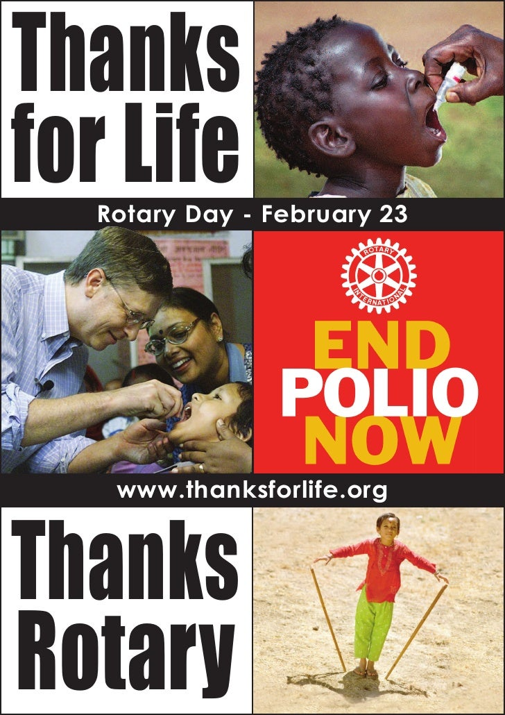 Thanks for Life   Rotary Day - February 23     Thanks    www.thanksforlife.org     Rotary