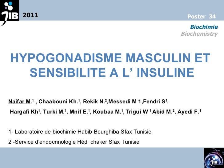 HYPOGONADISME MASCULIN ET  SENSIBILITE A L' INSULINE Naifar M . 1 , Chaabouni Kh. 1 , Rekik N. 2 ,Messedi M 1,Fendri S 1 ...