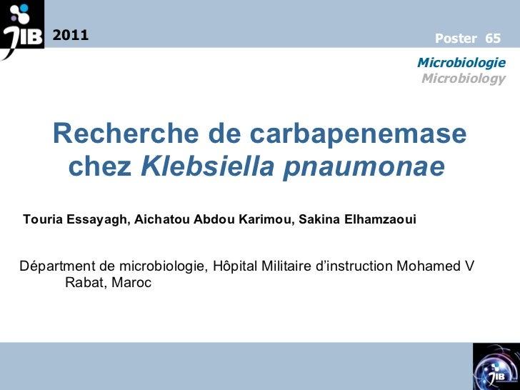 Recherche de carbapenemase chez  Klebsiella pnaumonae  Touria Essayagh, Aichatou Abdou Karimou, Sakina Elhamzaoui Départme...