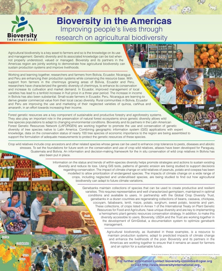 Poster7: Bioversity in the Americas Improving people's lives through research on agricultural biodiversity