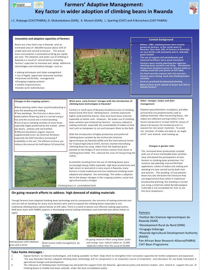 Farmers' AdaptiveManagement:                           KeyfactorinwideradoptionofclimbingbeansinRwanda  J.C.R...