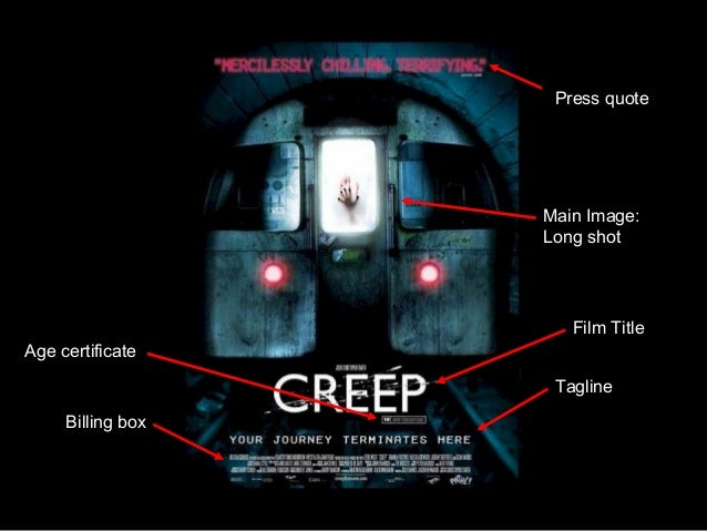 Tagline Film Title Main Image: Long shot Press quote Billing box Age certificate