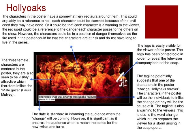 Hollyoaks The characters in the poster have a somewhat fiery red aura around them. This could arguably be a reference to h...