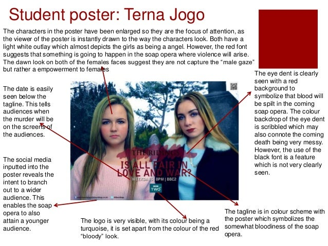 Student poster: Terna Jogo The eye dent is clearly seen with a red background to symbolize that blood will be spilt in the...