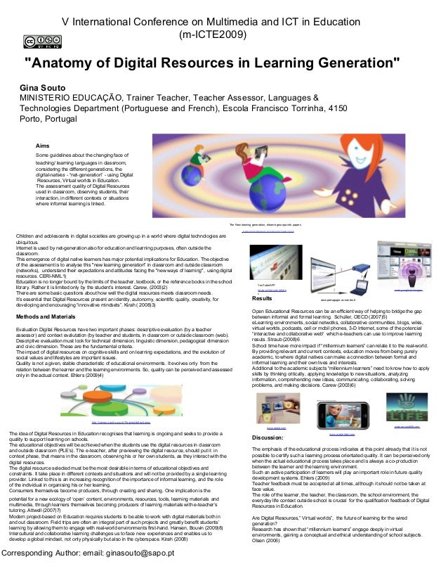 Anatomy Of Digital Resources In Learning Generation