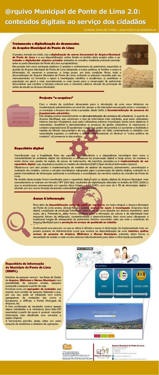 Tratamento docuTratamento e digitalização de documentos mentos  do Arquivo Municipal de Ponte de Lima  O projeto, iniciado...