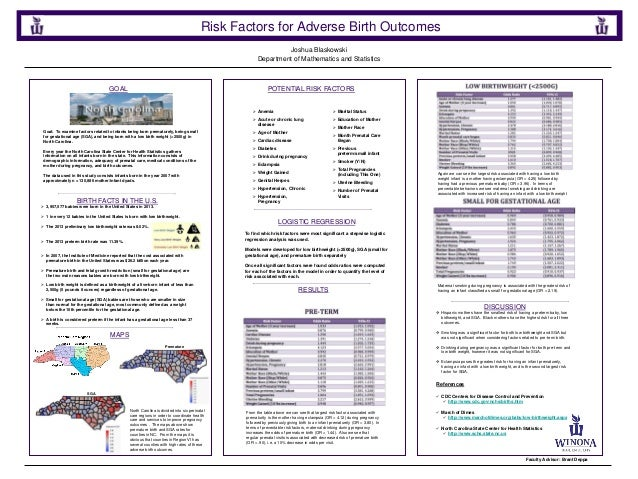 Joshua Blaskowski Risk Factors for Adverse Birth Outcomes Department of Mathematics and Statistics POTENTIAL RISK FACTORSG...