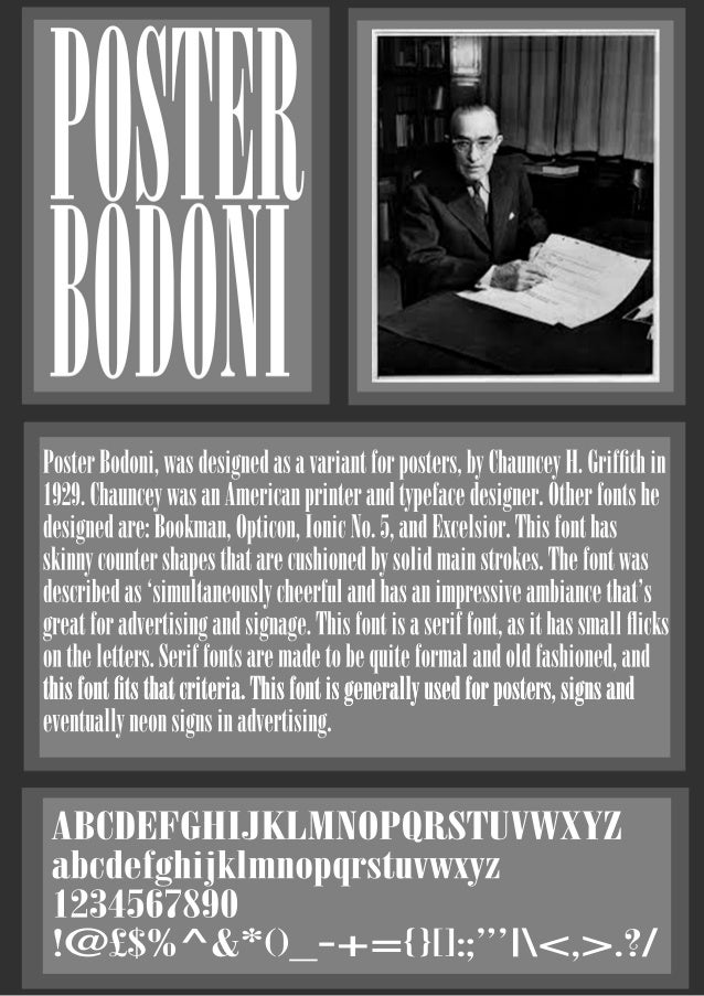 Poster Bodoni Font Poster