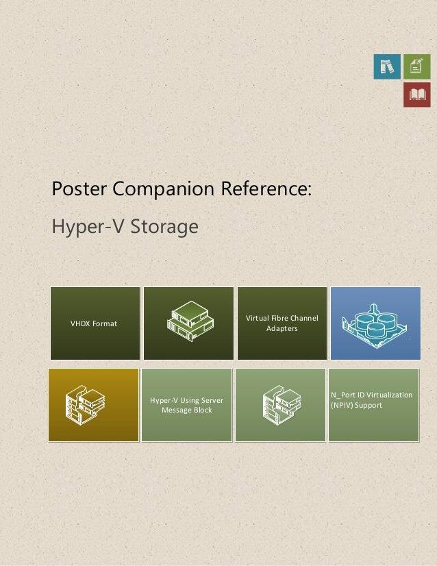 Poster Companion Reference:Hyper-V StorageVHDX FormatHyper-V Using ServerMessage BlockVirtual Fibre ChannelAdaptersN_Port ...