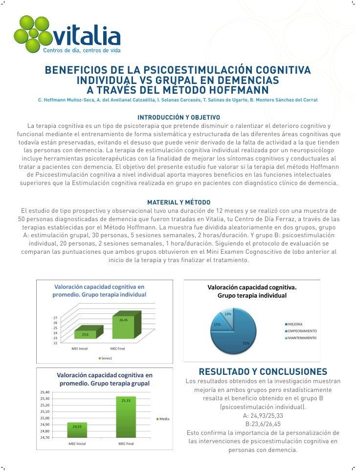 BENEFICIOS DE LA PSICOESTIMULACIÓN COGNITIVA             INDIVIDUAL VS GRUPAL EN DEMENCIAS               A TRAVÉS DEL MÉTO...