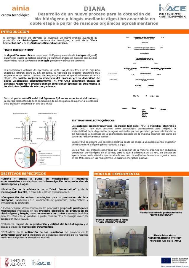 DIANA  Desarrollo de un nuevo proceso para la obtención de bio-hidrógeno y biogás mediante digestión anaerobia en doble et...