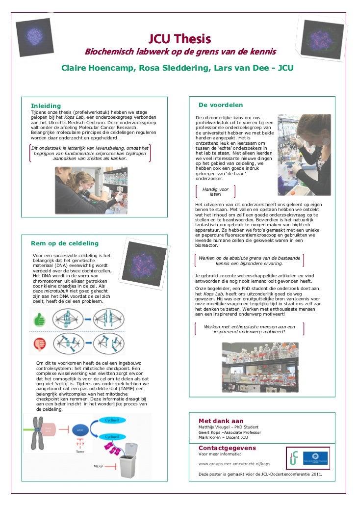 JCU Thesis                         Biochemisch labwerk op de grens van de kennis              Claire Hoencamp, Rosa Sledde...