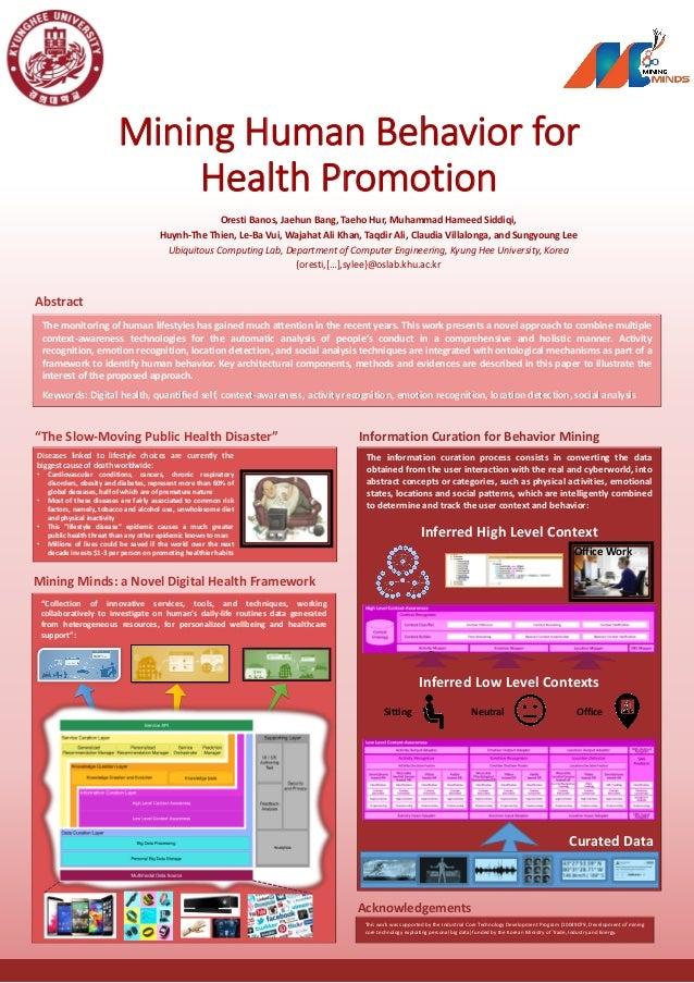 Mining Human Behavior for Health Promotion Oresti Banos, Jaehun Bang, Taeho Hur, Muhammad Hameed Siddiqi, Huynh-The Thien,...