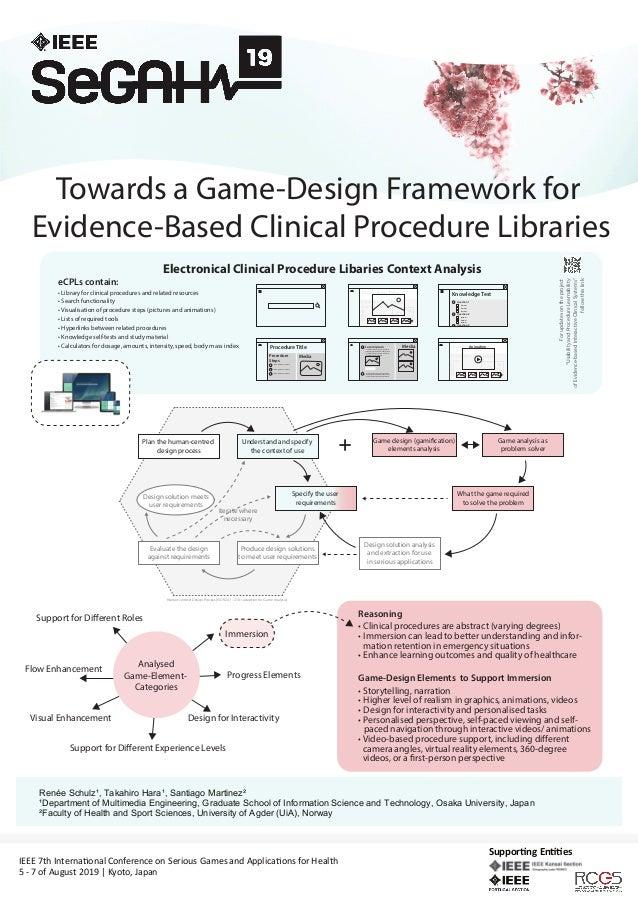 Towards a Game-Design Framework for Evidence-Based Clinical Procedure Libraries Renée Schulz¹, Santiago Martinez², Takahir...