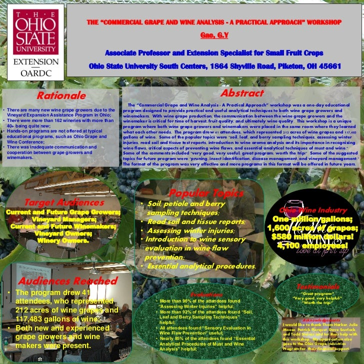 """THE """"COMMERCIAL GRAPE AND WINE ANALYSIS - A PRACTICAL APPROACH"""" WORKSHOP                                                  ..."""