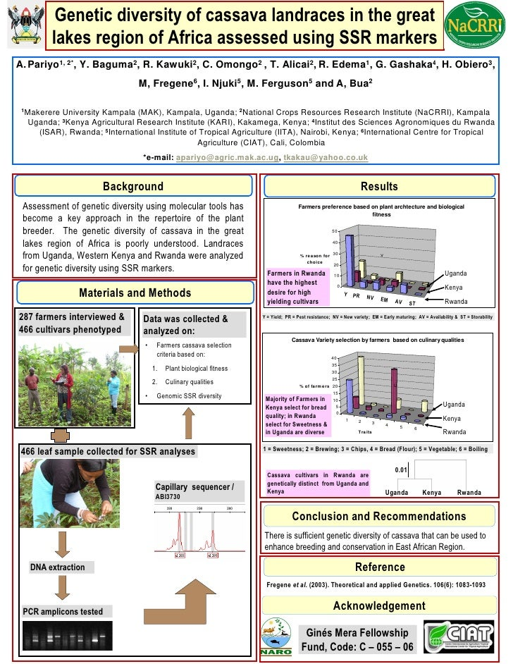 Genetic diversity of cassava landraces in the great         lakes region of Africa assessed using SSR markers A. Pariyo1, ...