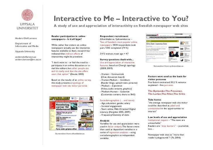 Interactive to Me – Interactive to You?                            A study of use and appreciation of interactivity on Swe...