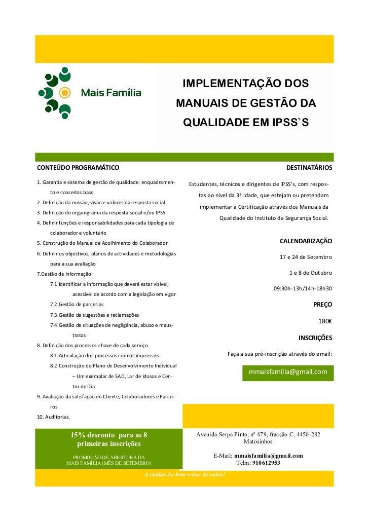 IMPLEMENTAÇÃO DOS                                                                  MANUAIS DE GESTÃO DA                   ...