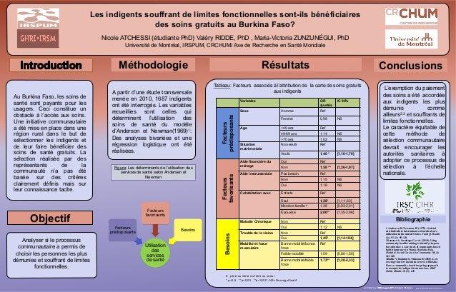 Les indigents souffrant de limites fonctionnelles sont-ils bénéficiaires des soins gratuits au Burkina Faso? Nicole ATCHES...