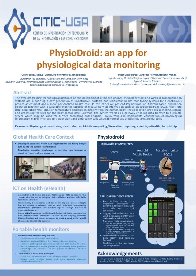 PhysioDroid: an app for physiological data monitoring Oresti Baños, Miguel Damas, Héctor Pomares, Ignacio Rojas Department...