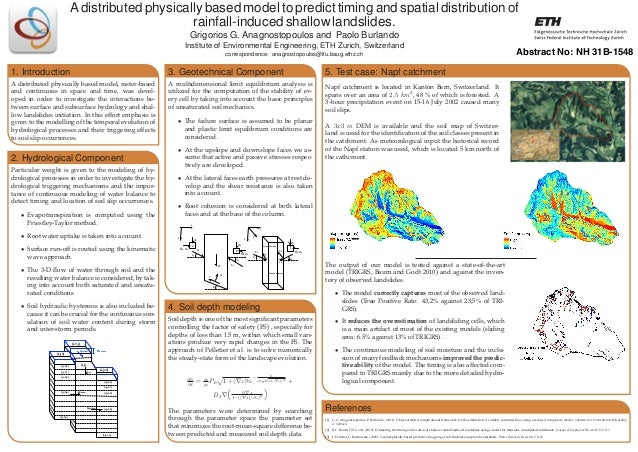 A distributed physically based model to predict timing and spatial distribution of rainfall-induced shallow landslides. Gr...