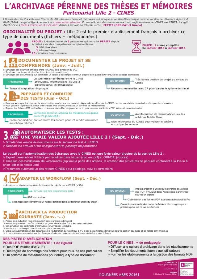 L'ARCHIVAGE PÉRENNE DES THÈSES ET MÉMOIRES Partenariat Lille 2 - CINES DOCUMENTER LE PROJET ET SE COMPRENDRE (Janv. - Juil...