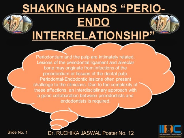 "SHAKING HANDS ""PERIO-                ENDO         INTERRELATIONSHIP""                Periodontium and the pulp are intimate..."