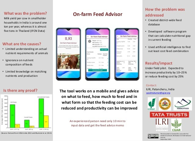 On-farm Feed Advisor Contact: ILRI, Patancheru, India v.padmakumar@cgiar.org This document is licensed for use under the C...