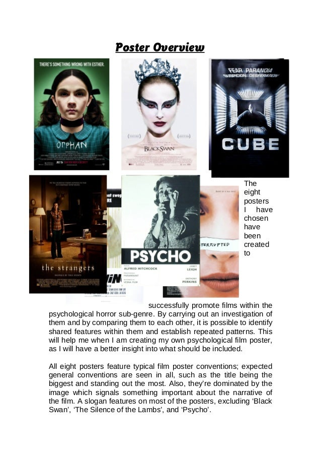 Poster Overview The eight posters I have chosen have been created to successfully promote films within the psychological h...
