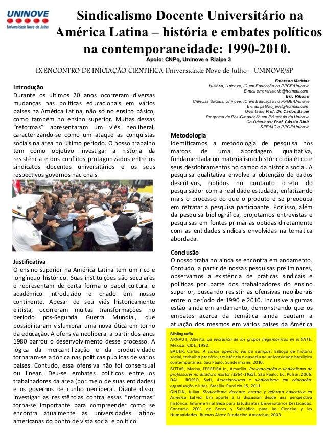 Sindicalismo Docente Universitário na               América Latina – história e embates políticos                  na cont...