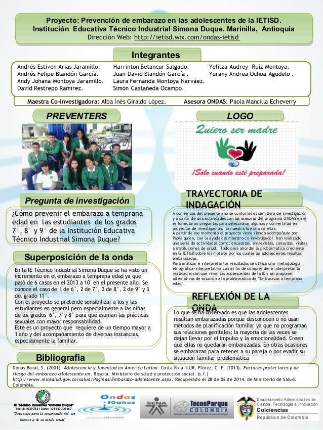 Proyecto: Prevención de embarazo en las adolescentes de la IETISD.  Proyecto: Prevención de embarazo en las adolescentes d...