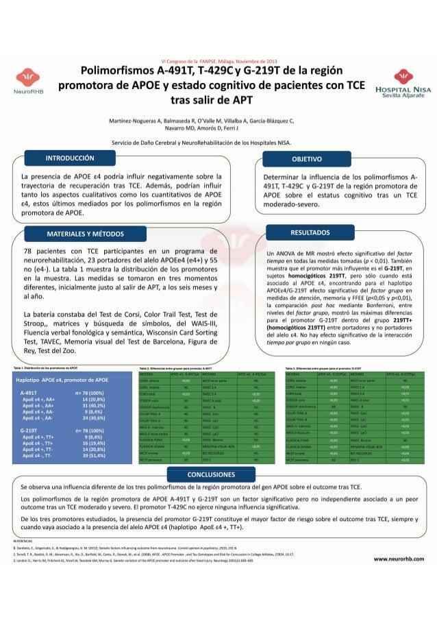 """""""Polimorfismos A-491T, T-429C y G-219T de la región promotora  de APOE y estado cognitivo de pacientes con TCE tras salir ..."""