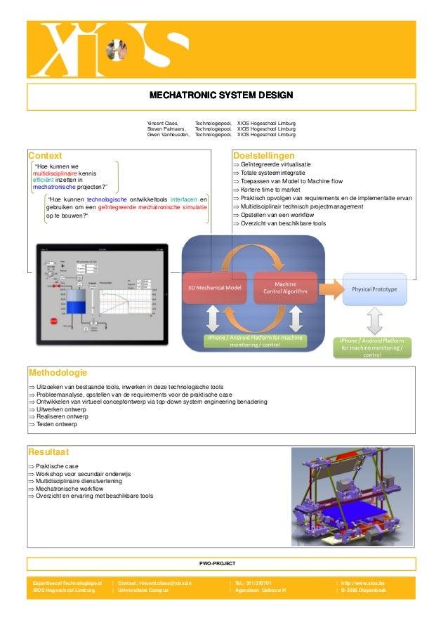 MECHATRONIC SYSTEM DESIGN                                              Vincent Claes,       Technologiepool,    XIOS Hoges...