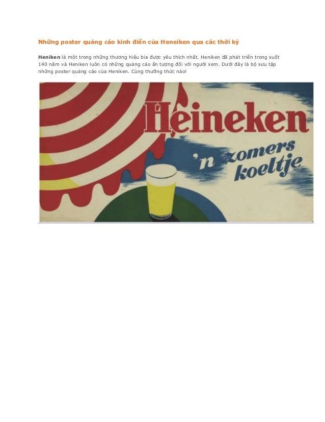 Những poster quảng cáo kinh điển của Heneiken qua các thời kỳHeniken là một trong những thương hiệu bia được yêu thích nhấ...