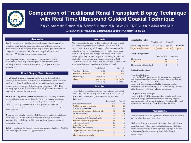 Comparison of Traditional Renal Transplant Biopsy Technique                             with Real Time Ultrasound Guided C...