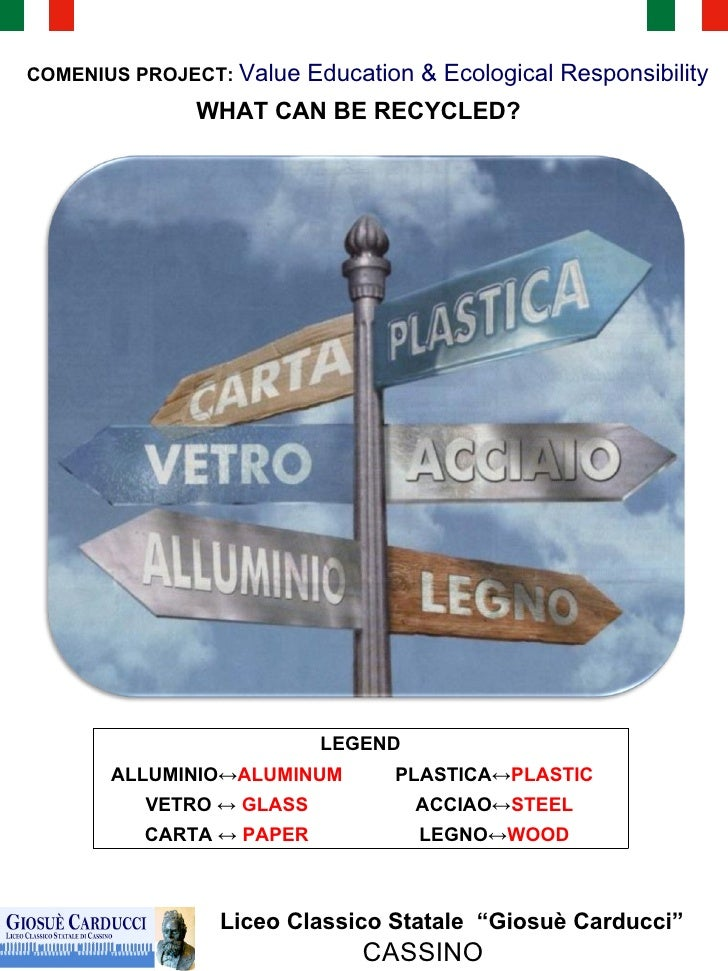 """WHAT CAN BE RECYCLED? Liceo Classico Statale  """"Giosuè Carducci"""" CASSINO COMENIUS PROJECT:  Value Education & Ecological Re..."""