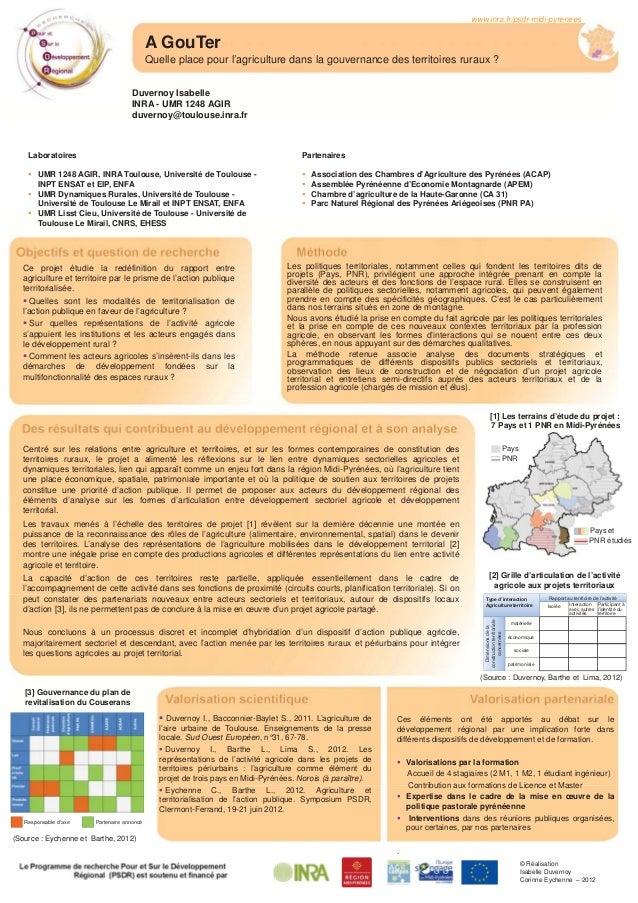 A GouTer Quelle place pour l'agriculture dans la gouvernance des territoires ruraux ? www.inra.fr/psdr-midi-pyrenees Labor...