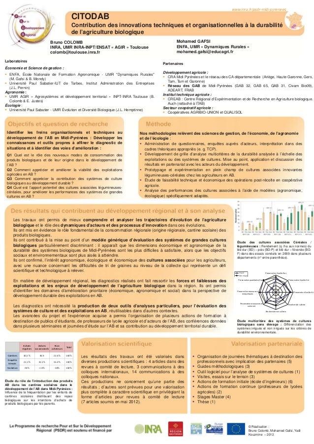 CITODAB Contribution des innovations techniques et organisationnelles à la durabilité de l'agriculture biologique www.inra...