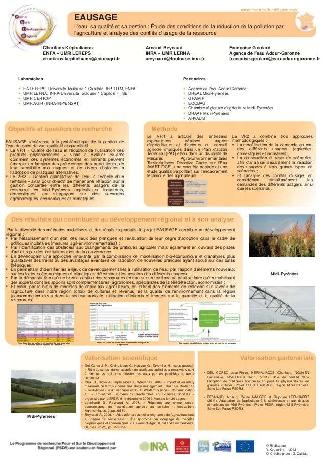 EAUSAGE L'eau, sa qualité et sa gestion : Étude des conditions de la réduction de la pollution par l'agriculture et analys...