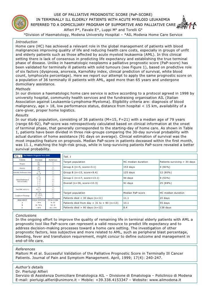 USE OF PALLIATIVE PROGNOSTIC SCORE (PaP-SCORE)                                                                     (PaP-  ...