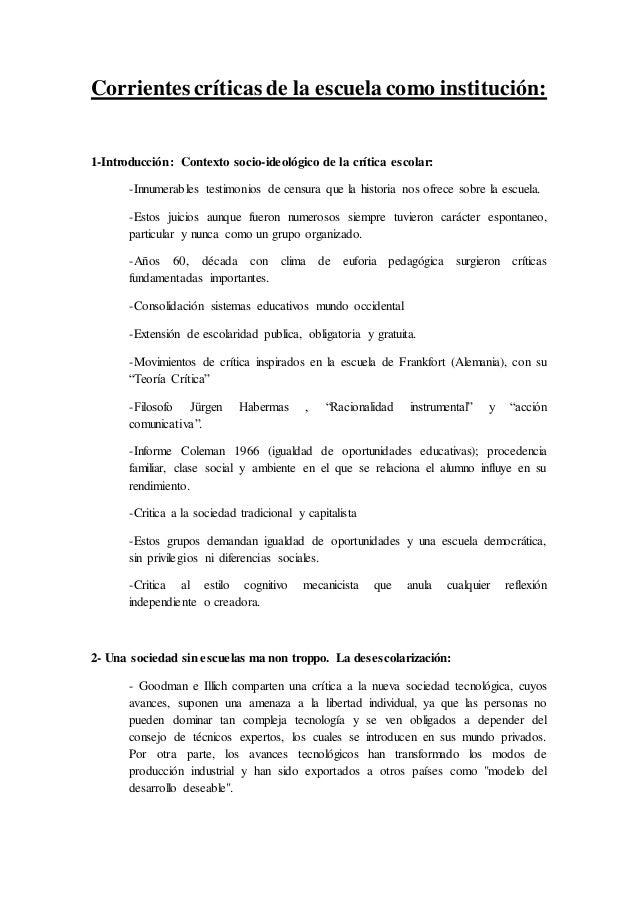 Corrientes críticas de la escuela como institución: 1-Introducción: Contexto socio-ideológico de la crítica escolar: -Innu...