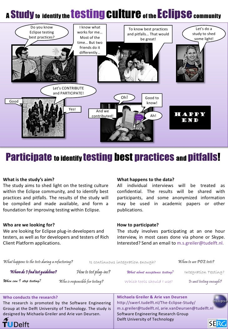 A Study to identify the                      testingculture of the Eclipse community                   Do you know        ...