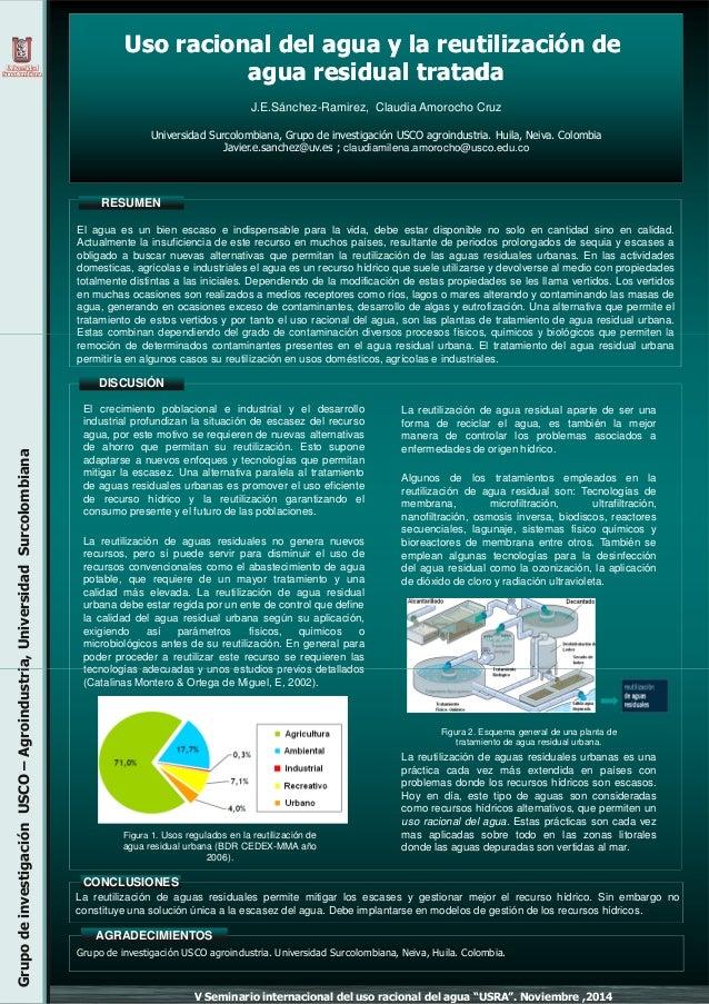 UsoUso racionalracional deldel aguaagua y lay la reutilizaciónreutilización dede aguaagua residualresidual tratadatratada ...