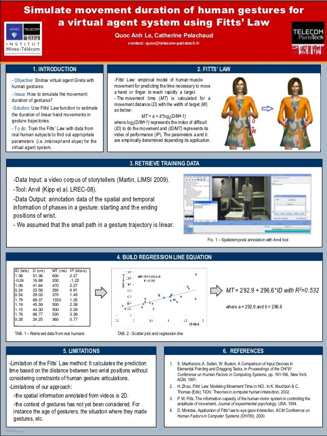 Simulate movement duration of human gestures for                                a virtual agent system using Fitts' Law   ...
