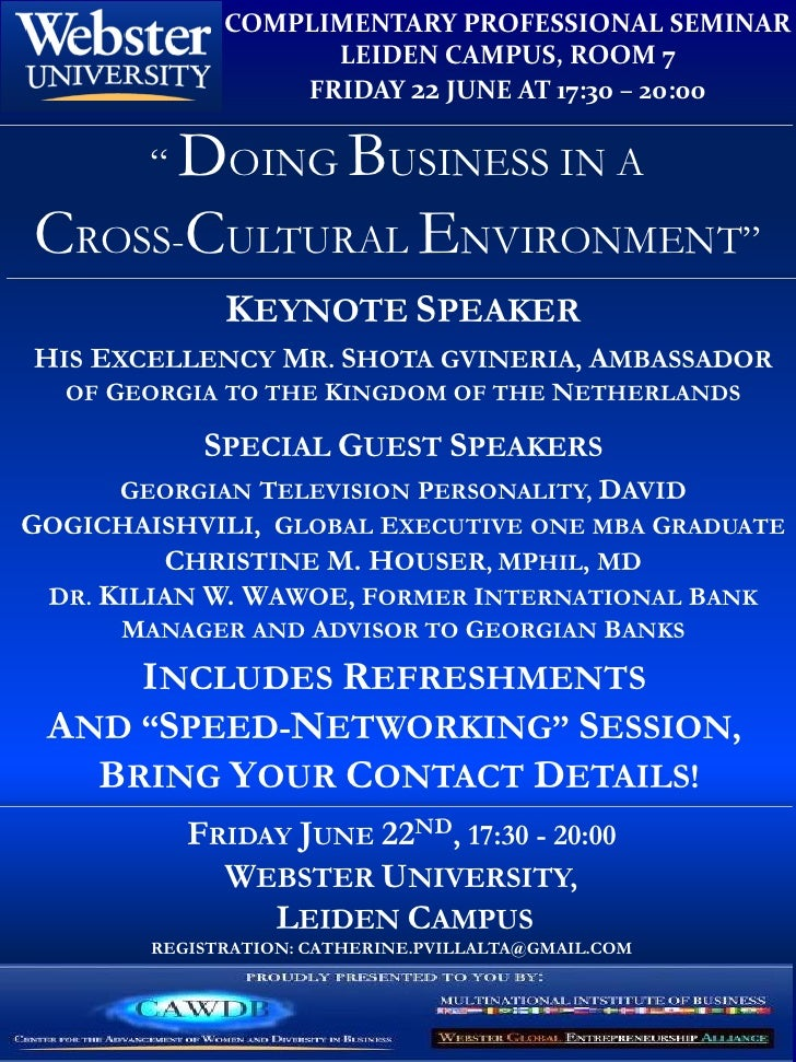 COMPLIMENTARY PROFESSIONAL SEMINAR                    LEIDEN CAMPUS, ROOM 7                  FRIDAY 22 JUNE AT 17:30 – 20:...