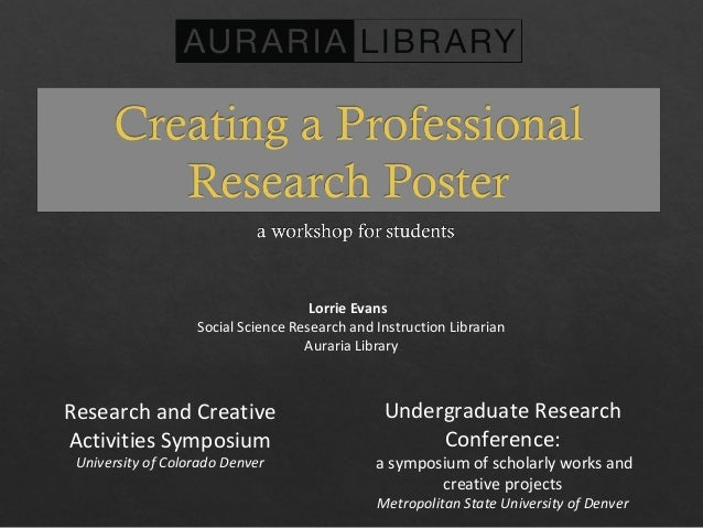 Lorrie Evans Social Science Research and Instruction Librarian Auraria Library Research and Creative Activities Symposium ...