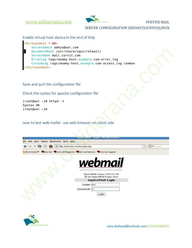 How to install and configure Postfix Mail Server in Redhat