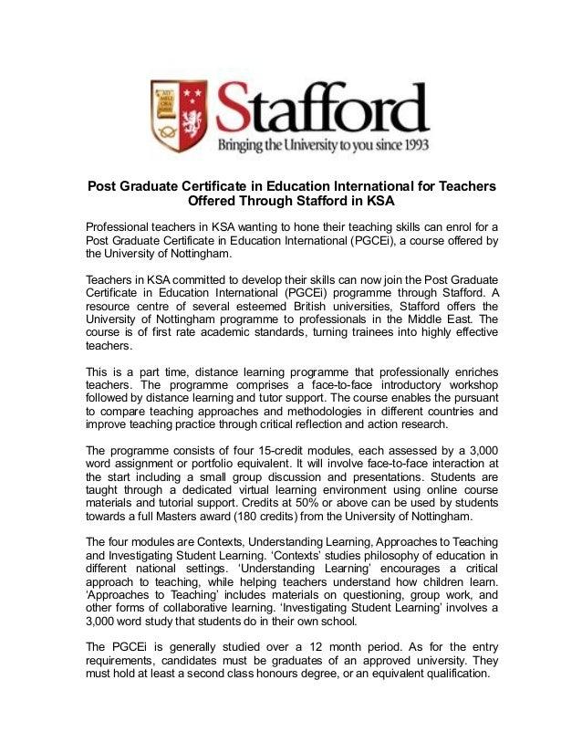 Post Graduate Certificate In Education International For Teachers Off
