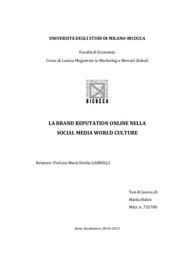 UNIVERSITÁ  DEGLI  STUDI  DI  MILANO-‐BICOCCA   Facoltà  di  Economia   Corso  di  Laurea  Magistra...